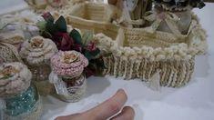 Shabby Vintage P/L wall hanging/crochet pin cushion box/crochet basket/a...