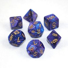 Set of 7 Chessex Lustrous Purple/gold RPG Dice, GMDice $8.75