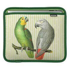 Vintage Parrots iPad Sleeve available at Zazzle