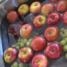 DIY fruit and veggie wash: Fill sink with water, add 1 c vinegar.  Add all fruit and soak for 10 minutes. Removes dirt and wax. Great rinse to extend the life of berries.
