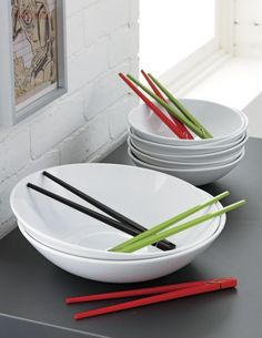 new noodle.  Handmade pasta bowls in slick swoop of white stoneware serves its namesake. . .  plus salads, veggies, fruit. HandmadeHi-gloss white glazeDishwasher-, microwave-safe and oven-safeMade in China.
