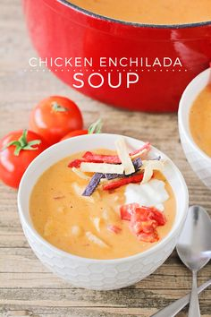 This savory and cheesy chicken enchilada soup is incredibly flavorful and easy to make too! Chili's Chicken Enchilada Soup, Cheesy Chicken Enchiladas, Best Soup Recipes, Gourmet Recipes, Favorite Recipes, Yummy Recipes, Chicken Recipes, Recipies, Cheap Clean Eating