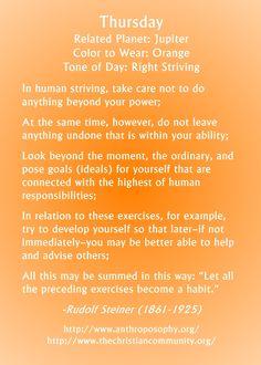 Rudolf Steiner on the energy of Thursday