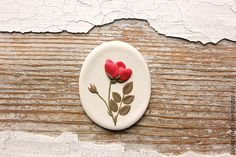 Rosehip flower. Part of my Botanical illustration collection. Polymer clay brooch. Handmade. AprilGardenJewelry.