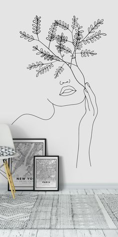 one line drawing face simple * one line drawing & one line drawing face & one line drawing couple & one line drawing flower & one line drawing simple & one line drawing woman & one line drawing face simple & one line drawing tattoo Simple Wall Paintings, Wall Painting Decor, Abstract Face Art, Abstract Portrait, Mural Art, Wall Murals, Line Art Flowers, Face Line Drawing, Minimal Wallpaper