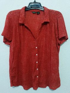 "Eddie Bauer - Women's Top - Size XXL - Bust 48"" Red/Orange Crinkle Sheer Cotton Blouse #EddieBauer #ButtonDownBlouse  ..... Visit all of our online locations ..... (www.stores.eBay.com/variety-on-a-budget) ..... (www.amazon.com/shops/Variety-on-a-Budget) ..... (www.etsy.com/shop/VarietyonaBudget) ..... (www.bonanza.com/booths/VarietyonaBudget ) .....(www.facebook.com/VarietyonaBudgetOnlineShopping)"