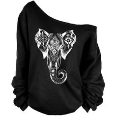 Elephant Print Oversized Off Shoulder Raw Edge Sweatshirt ($29) ❤ liked on Polyvore featuring tops, hoodies, sweatshirts, shirts, sweatshirt, sweaters, black, women's clothing, print shirts and oversized shirt