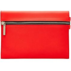 Victoria Beckham Small Zip Leather Clutch ($340) ❤ liked on Polyvore featuring bags, handbags, clutches, red, zipper handbag, genuine leather handbags, leather purse, victoria beckham and victoria beckham purses