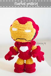 Iron Man inspired doll crochet pattern.