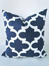 image result for white and navy blue pillow covers