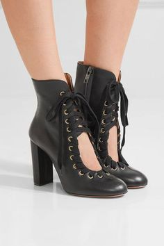 Chloé - Lace-up Leather Ankle Boots - Black