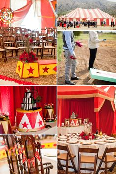 ventura county vintage wedding circus tent with tables and cake set up for reception dinner while guest play at circus hour