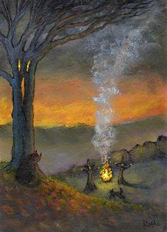 'Fire Fire into Smoke' witch bonfire cat art by Kathe Soave