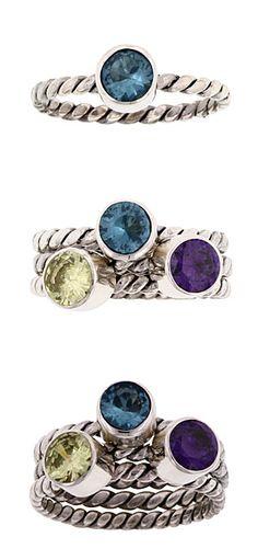 Artistic Silver Birthstone Rings