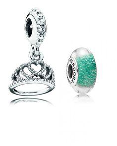 set/lot of 2 Charms Pandora Disney: Ariel Color Murano & Dangle Hearts Tiara  | eBay