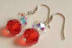 #earrings #jewelry #handmade #swarovski #red #sterling #silver #crystal