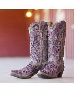 Corral Women's Brown Crater/Purple Inlay Boot - R1081  http://www.countryoutfitter.com/products/30987-womens-brown-crater-purple-inlay-r1081