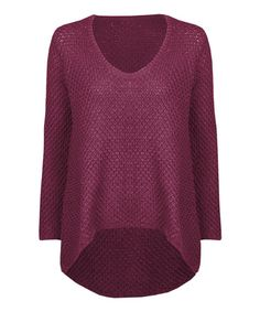 Another great find on #zulily! Stand By for Style.  Rosewood Basket-Knit Hi-Low Sweater #zulilyfinds