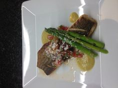 Striped bass, heirloom tomato pick de gallo, pineapple mint purée and ...
