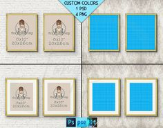 8x10 #W17 Set of 2 Fine Gold Portrait Frames on Wallpaper Brick Wall, 4 Print Display Mockups, PNG PSD PSE, Opening 20x25cm, Custom colors