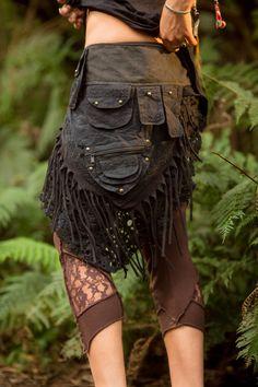 Black Patchwork Pocket Skirt - Sexy Fairy Hippie Boho Goa Festival Gypsy Bohemian Skirt with Pocket