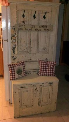 An old door turned into a hall bench.