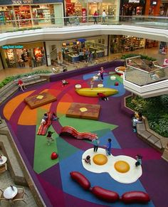 Indoor play area at Cherry Creek Mall in Denver, CO. But don't jump in your car to head down to this breakfast-themed play area, as it appears to have been replaced by a Looney Tunes theme :(