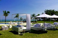 Afternoon party setup at Villa Atas Ombak, #Bali Our contemporary low sofa, our iron contemporary daybeds, umbrellas & iron tables. #RevelRevelBali #events #furniture #rental