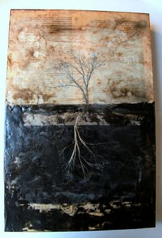 """The Establishment of Forests by artist Linda Plaisted  http://lindaplaisted.com  12 x 18 x 2"""" Encaustic Mixed Media- My original photography, oil pigment, ink and beeswax  on Cradled Birch panel"""