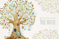 Watercolor Tree House Illustration by Lembrik's Artworks on @creativemarket