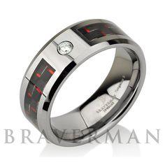 Mens Wedding Bands Tungsten Wedding Ring White by BravermanOren
