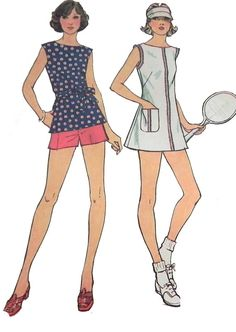 1970s Jiffy Tennis Dress or Top and Shorts by retroactivefuture, $8.00