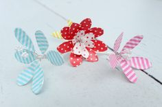Washi tape flowers made with tape and wire.