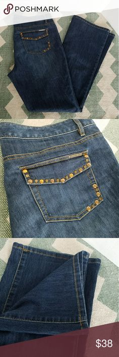 {Michael Kors} denim studded pocket jeans size 12 Inseam - 32 inches Waist - 18 inches (measured flat) Leg opening  - 10 inches (measured flat)  Photos are the description of this article. Any flaws will be pointed out and noted. Otherwise this article is in excellent condition. Michael Kors Jeans