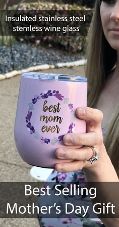 Best Mom Ever Stainless Double Wall Wine Cup Personalized Gifts For Her, Personalized Tumblers, Custom Tumblers, Vinyl Crafts, Vinyl Projects, Mother Day Gifts, Gifts For Mom, Perfect Mother's Day Gift, Love You Mom