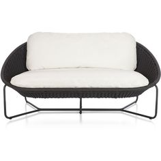 Crate & Barrel Morocco Charcoal Oval Loveseat with Cushion ($979) ❤ liked on Polyvore featuring home, outdoors, patio furniture, crate and barrel outdoor furniture, charcoal loveseat, crate and barrel patio furniture, moroccan patio furniture and moroccan outdoor furniture