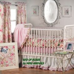 vintage floral rose toile fabric baby crib bedding sets
