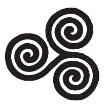The Triade, Triskele, or Triple Spiral, is an ancient Celtic symbol related to earthly life, the afterlife and reincarnation. it is drawn in one continuous line, suggesting a fluid movement of time.