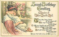 Artist Clara Miller Burd- copyright 1913-postcard Second Birthday Greeting....