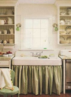 Vintage Farmhouse Kitchen | Farmhouse Kitchen...love the green & cream sink skirt & the open ...