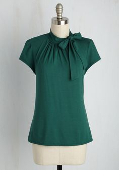 Advert Yourself Top in Forest. By remixing this dark green top and getting down to business, you ensured your climb up the corporate ladder. #green #modcloth