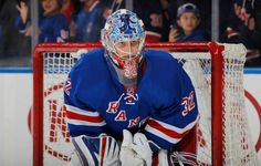NEW YORK, NY - OCTOBER Antti Raanta of the New York Rangers looks on during pre game warm ups before the game against the San Jose Sharks at Madison Square Garden on October 2015 in New York City. (Photo by Jared Silber/NHLI via Getty Images) Coyotes Hockey, Rangers Hockey, Nhl Games, San Jose Sharks, National Hockey League, New York Rangers, Espn, Football Helmets, New York City