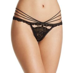 For Love & Lemons Etienne Lace Thong #SKPA1141L ($74) ❤ liked on Polyvore featuring intimates, panties, black, lacy panties, panty thong, lace thong panties, thong panties and thong panty