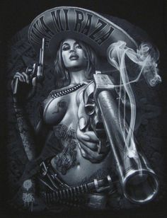 Mexicana and Smoking gun. Arte Cholo, Cholo Art, Chicano Art Tattoos, Chicano Drawings, Arte Lowrider, Mexican Art Tattoos, Aztec Tattoo Designs, Latino Art, Aztec Art