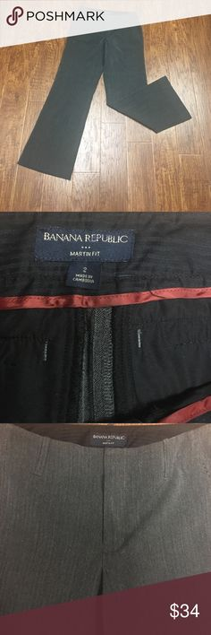 """Banana republic Martin fit dress pants Beautiful dress pants by banana republic. Size too. Martin fit. Charcoal gray with a darker gray or black herringbone print. Excellent preowned condition.  🚫MEASUREMENTS LAYING FLAT: Waist: 15"""" Hips:  18"""" Inseam:  29"""" Leg opening: 10"""" Banana Republic Pants Trousers"""
