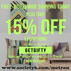 "ONLY TODAY GET FREE SHIPPING WORLDWIDE + 15% OFF  USE CODE : ""GETGIFTY"" AT CHECKOUT!!  https://society6.com/metron  ‪#‎christmas‬ ‪#‎holidays‬ ‪#‎promotion‬ ‪#‎christmasgift‬ ‪#‎giftideas‬ ‪#‎gifts‬ ‪#‎design‬ ‪#‎interior‬ ‪#‎homedecor‬ ‪#‎abstractart‬"