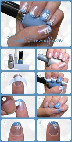Christmas Nails Design Tutorial, snowflake Christmas Nails Art Tutorial for Girls