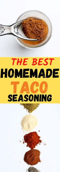 This is the best ever homemade taco seasoning. It takes less than 5 minutes to make and is so worth it to always have this on hand. Makes everything taste great and you control the flavor and no additives/fillers. Gluten free mix too, many on the market have gluten. Delicious and easy...make this part of your meal prep routine!