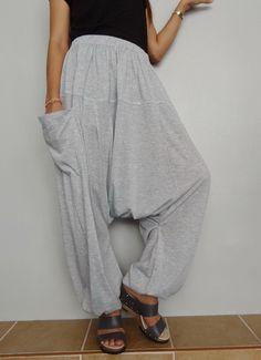 Soft Gray Drop crotch long trouser,Unisex harem Baggy pants, unique cotton blend (Drop pants-12). by Brightfashion on Etsy