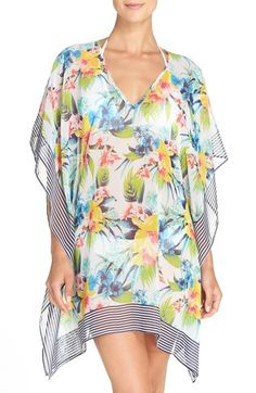 1acdb6fc78 Tommy Bahama Floral Print Cover-Up Tunic available at #Nordstrom Sheer  Cover Up,